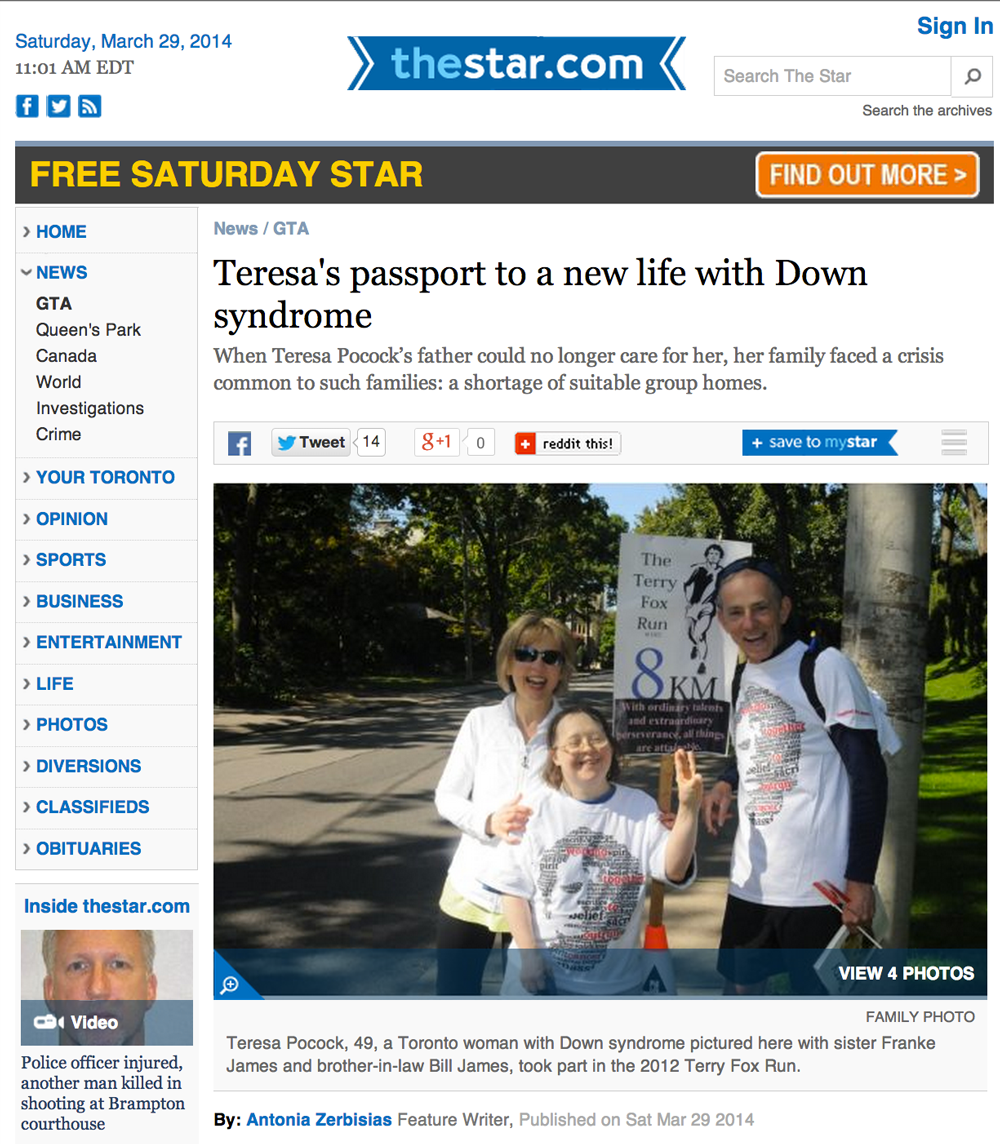 Toronto Star: Teresa Pocock's passport to a new life with Down syndrome