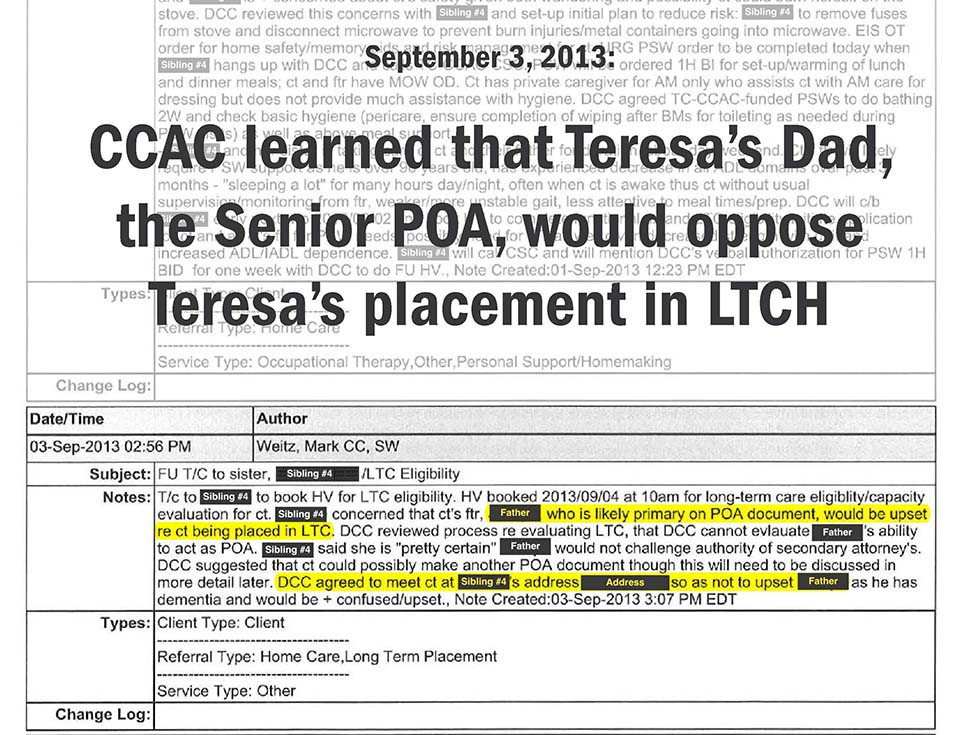 September 3, 2013: TCCAC learned that Teresa's Dad, the Senior POA, would oppose Teresa's placement in LTCH