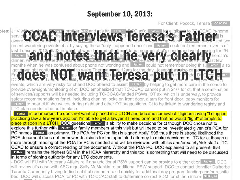 September 10, 2013: CCAC interviews Teresa's Father and notes that he very clearly does NOT want Teresa put in LTCH