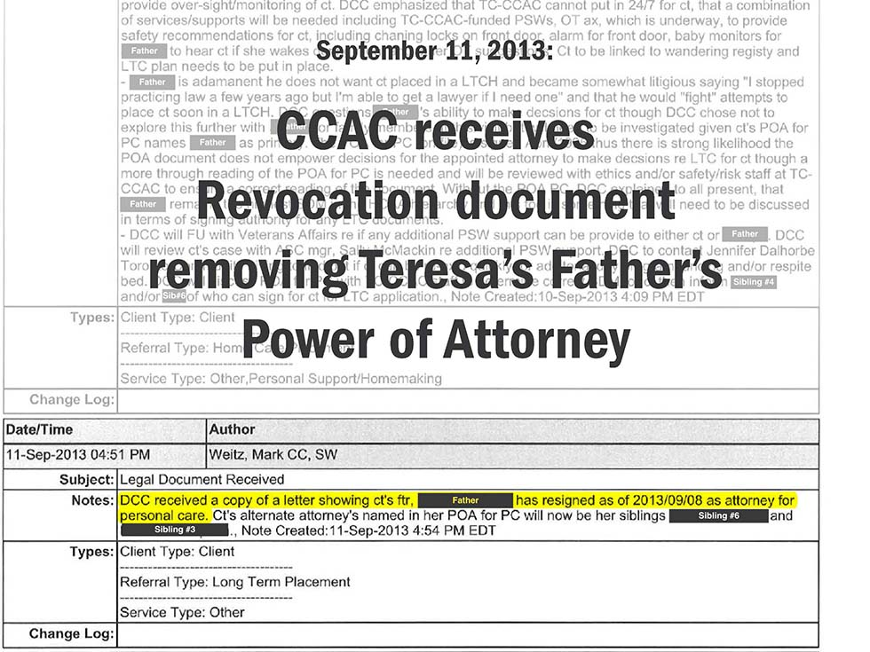 September 11, 2013: CCAC receives Revocation document removing Teresa's Father's Power of Attorney