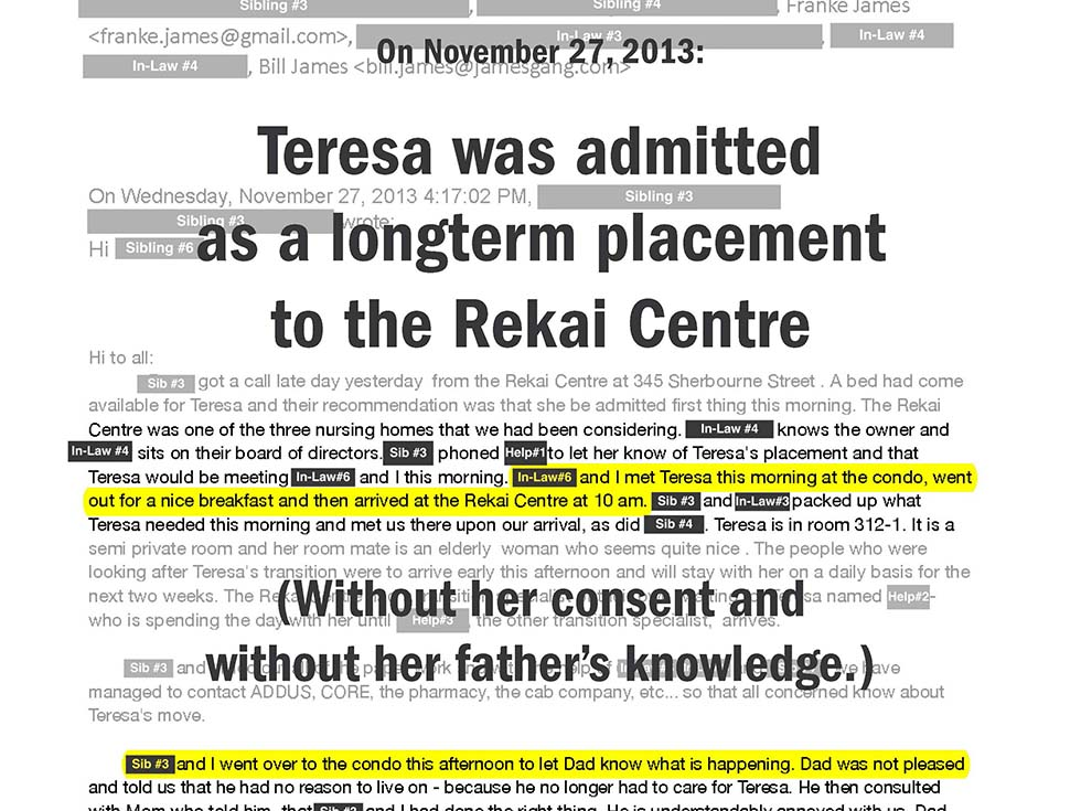On November 27, 2013: Teresa was admitted as a longterm placement to the Rekai Centre (Without her consent and without her father's knowledge.)