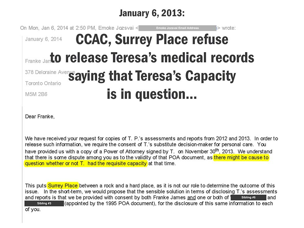 January 6, 2013: CCAC, Surrey Place refuse to release Teresa's medical records saying that Teresa's Capacity is in question...