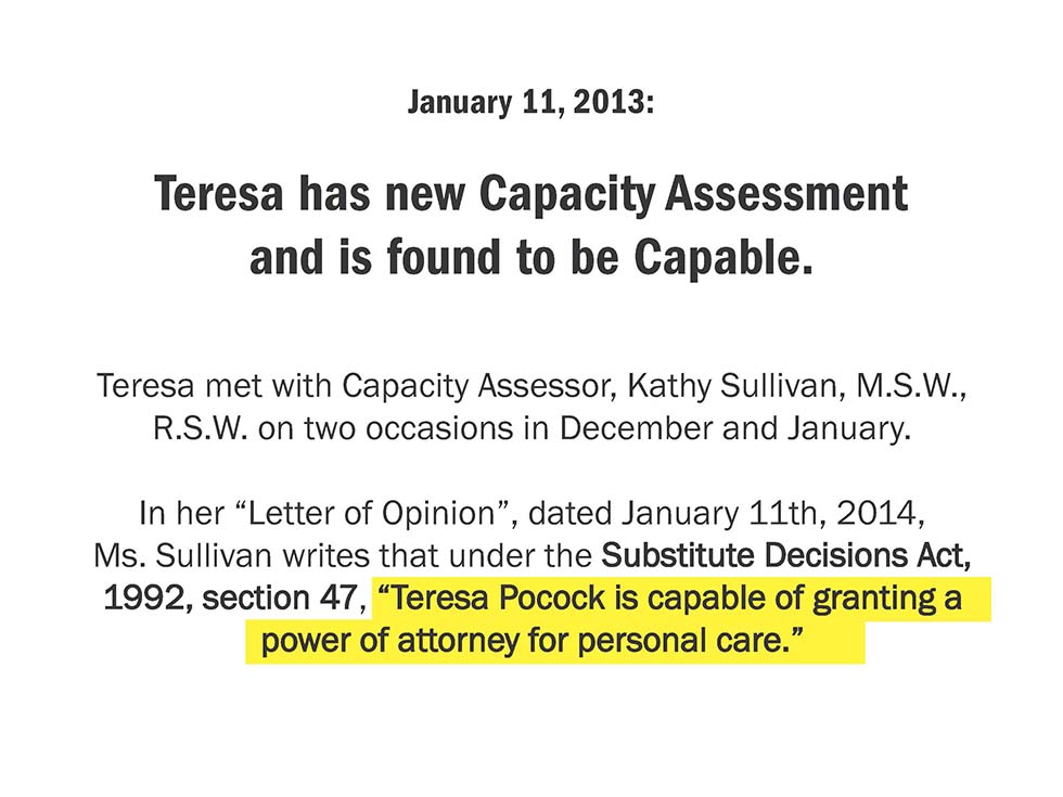 January 11, 2013: Teresa has new Capacity Assessment and is found to be Capable.