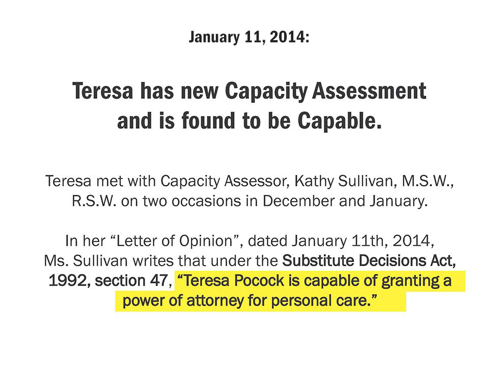 January 11, 2014: Teresa has new Capacity Assessment and is found to be Capable.